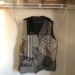 Plus Size Vintage Embellished Patchwork Vest